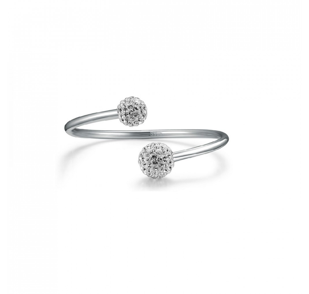 DAISY DOUBLE BALL BANGLE SILVER