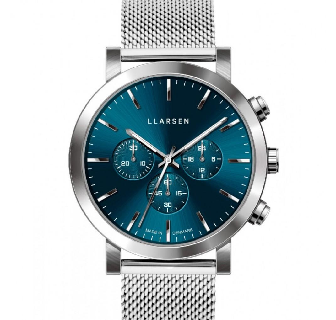 LLARSEN NOR Mesh Steel Blue Watch