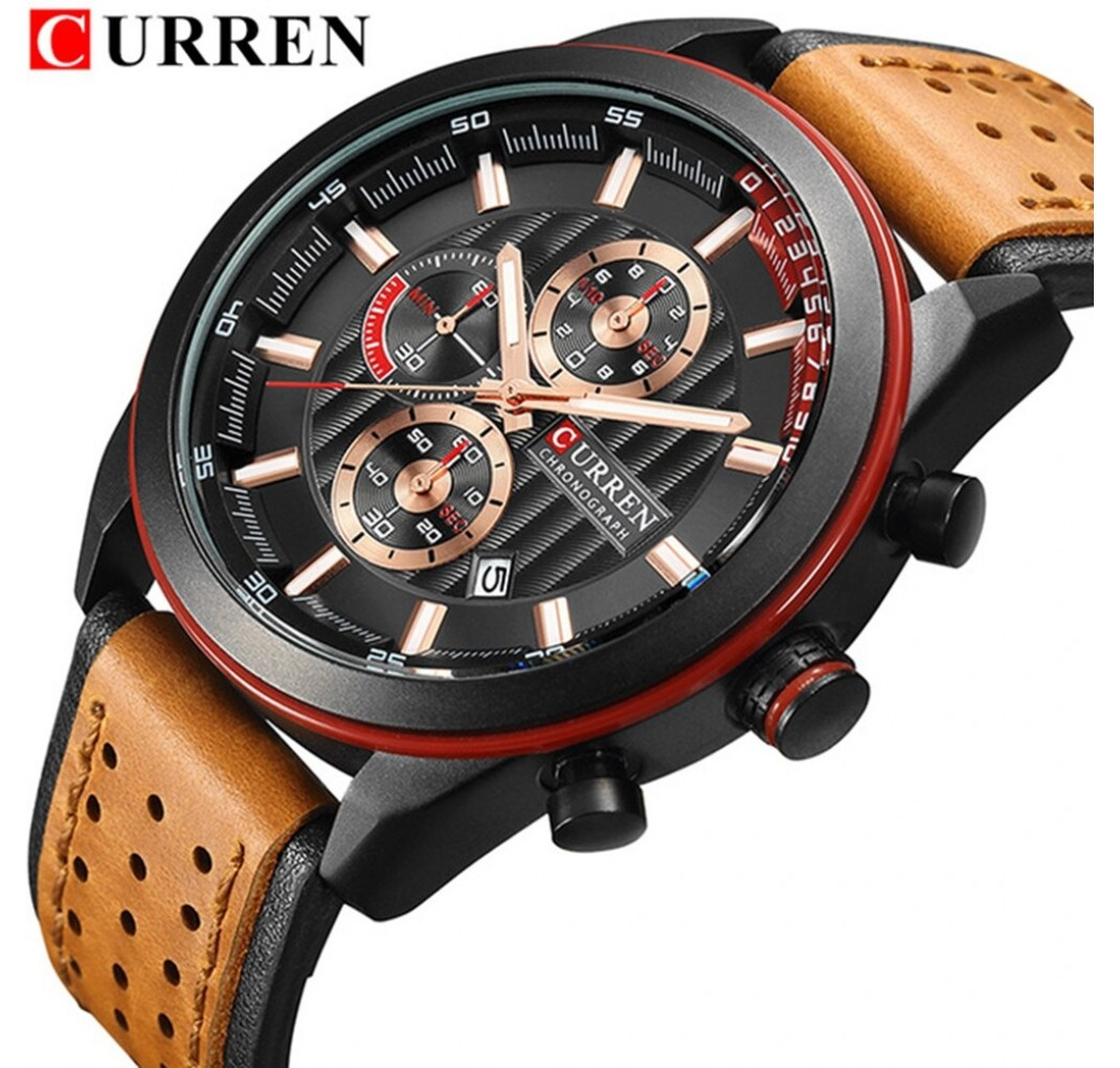 Curren Herreur model 8292 Chronograf sort urkasse