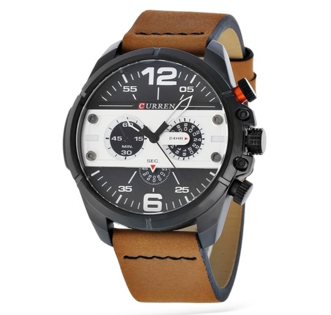 CURREN Chronograph model 8259 Cognac Silver