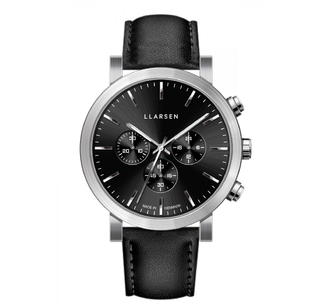 LLARSEN NOR Steel Watch Ink Leather