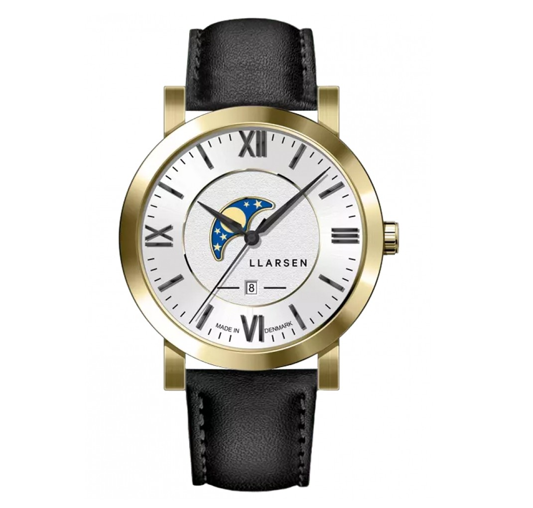 LLARSEN HUGO Gold Watch Ink Leather