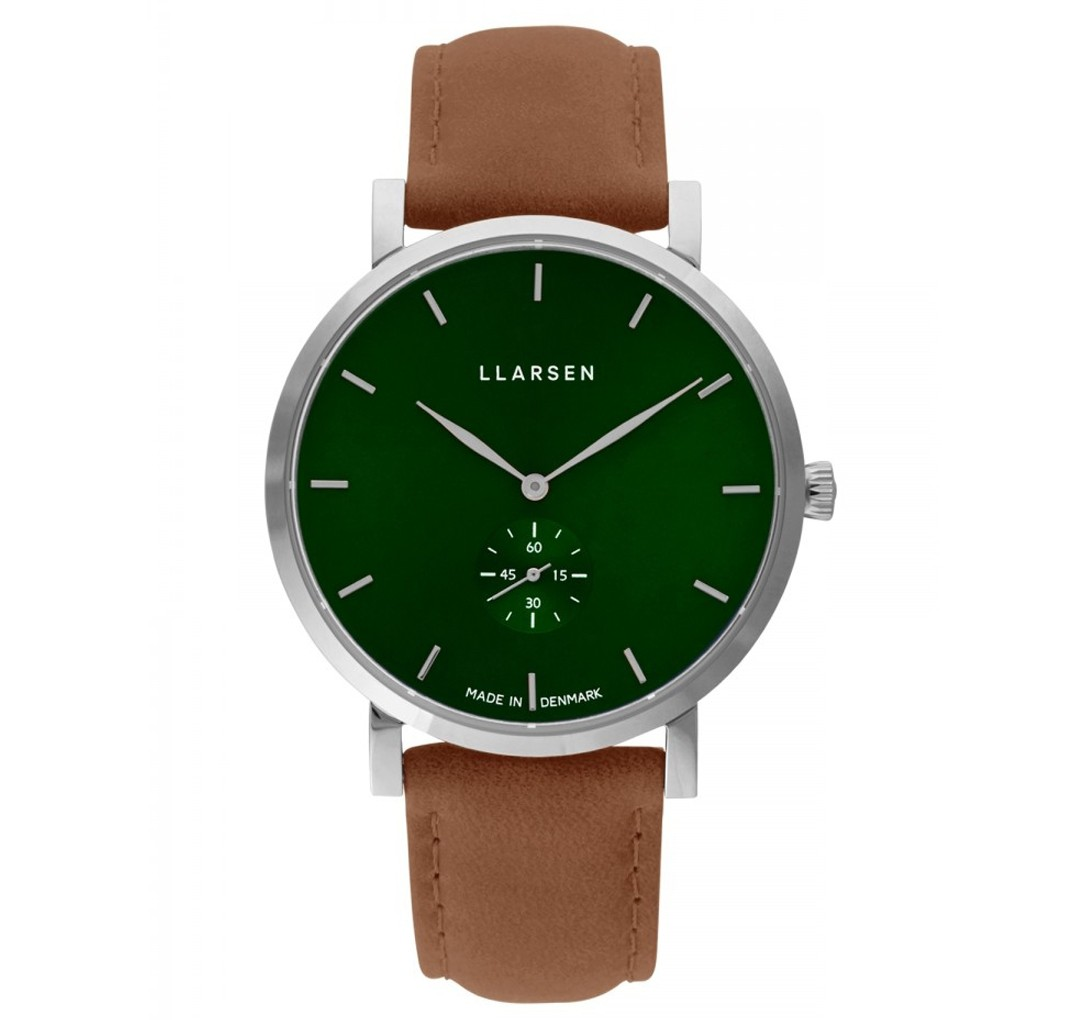 LLARSEN OLIVER Steel Watch Camel Leather