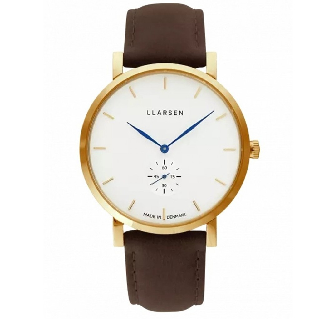 LLARSEN NIKOLAJ Gold Watch Forest Leather