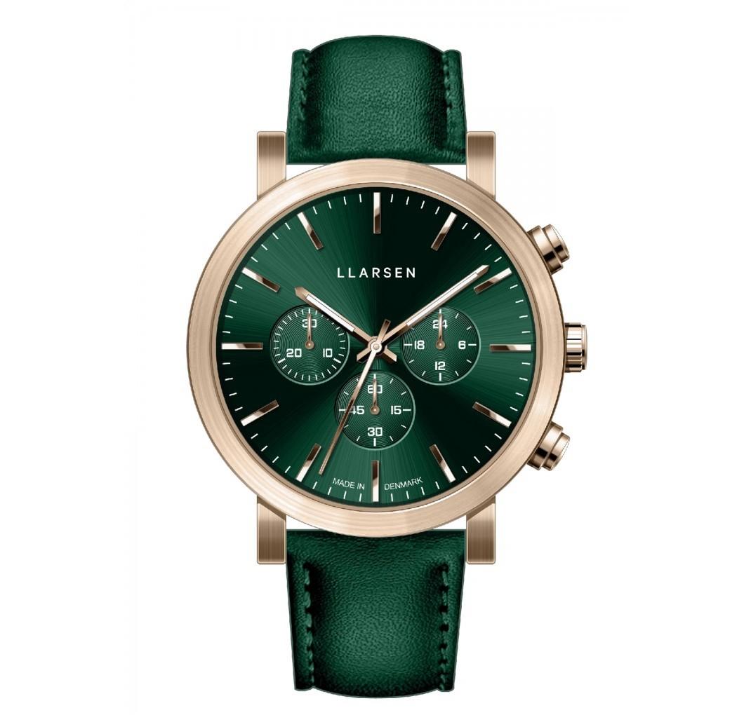 LLARSEN NOR Bronze Watch gren Leather