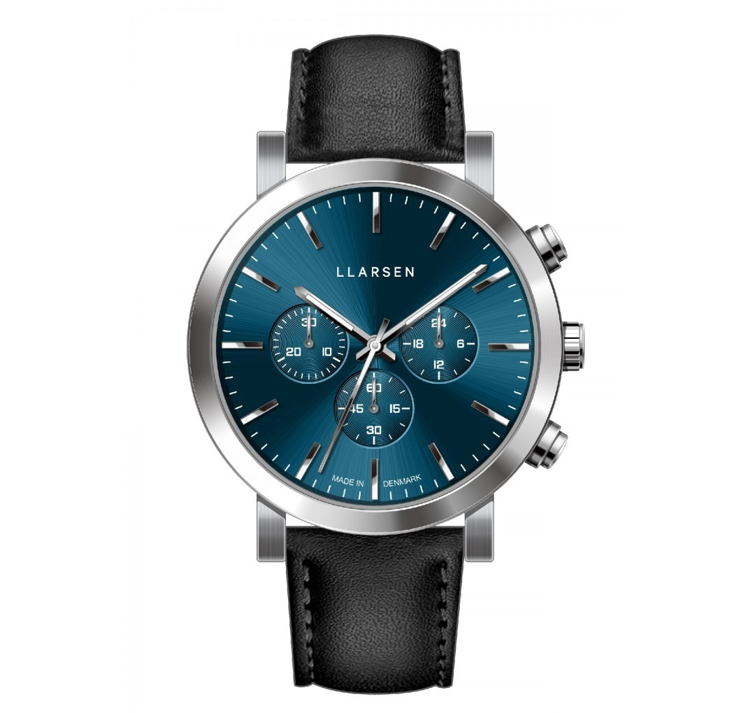 LLARSEN NOR Steel Blue Watch Ink Leather
