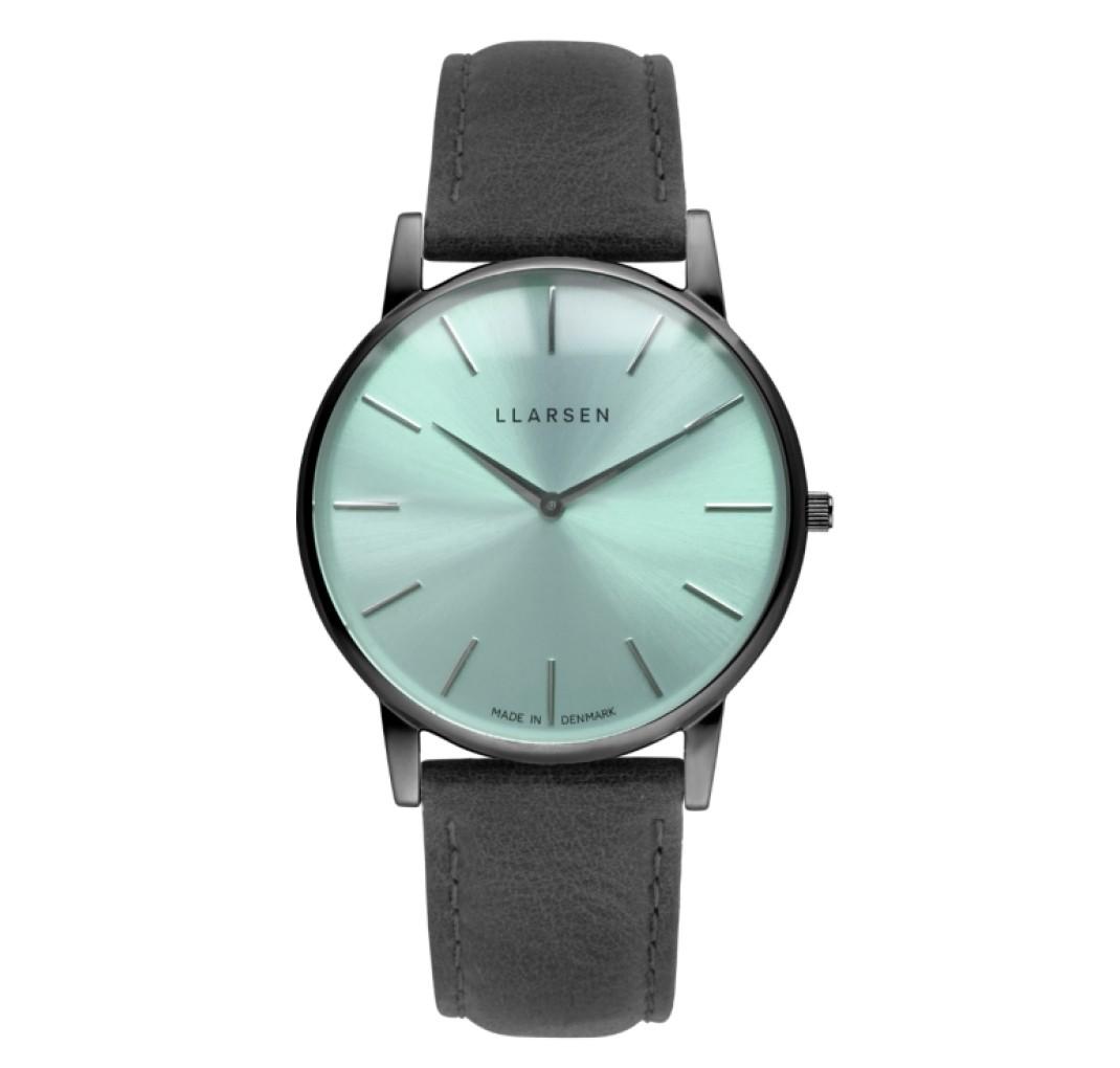 LLARSEN OLIVER Oxidized Watch Coal Leather