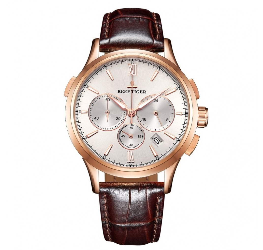REEF TIGER Seattle II Madison Chronograph RGA1669 Rosegold Brown leather