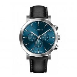 LLARSEN NOR Steel Blue Watch Ink Leather