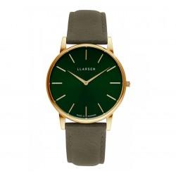 LLARSEN JOSEPHINE Gold Watch Forest Leather