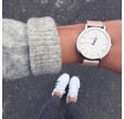 KLARF CLASSIC SILVER & PINK LEATHER