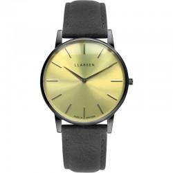 LLARSEN OLIVER Oxidized Watch Grey Leather