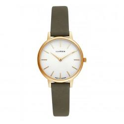 LLARSEN Caroline Gold Watch Wood Leather