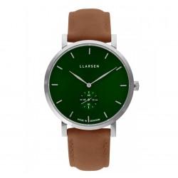 LLARSEN OLIVER Steel Watch Camel Leather