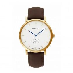 LLARSEN NIKOLAJ Gold Watch Wood Leather