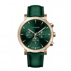 LLARSEN NOR Bronze Watch gren Leather
