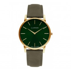 LLARSEN JOSEPHINE Gold Watch Forest Leather