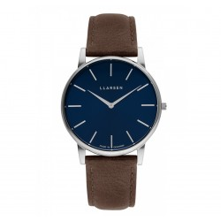 LLARSEN OLIVER Steel Watch Wood Leather