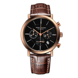 REEF TIGER Seattle Mountain Rainier Chronograph RGA162 Rosegold Brown leather